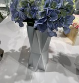 Star Silver Vase with 2 Bunches Blue Hydrangeas