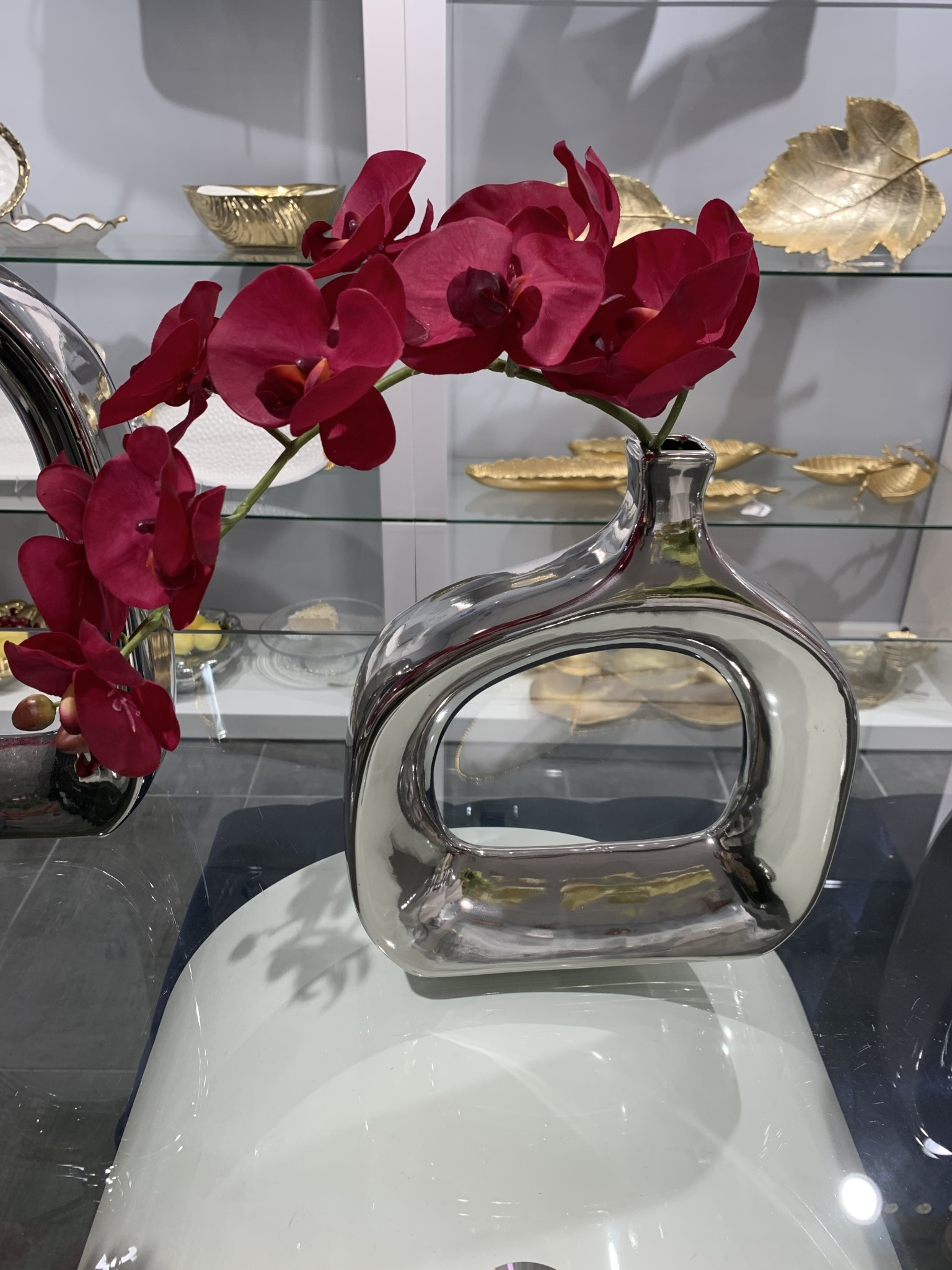 """11"""" Open Chrome Vase with Purple Orchid"""