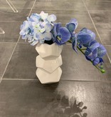 Orion white vase with blue orchids & hydrangea
