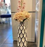 Abstract Lattice Vase w/ hydrangeas