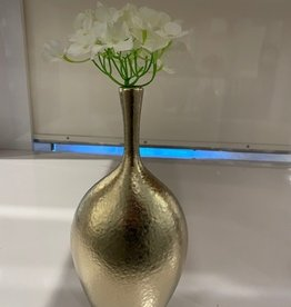 Lilo Dimpled Ceramic 12.25H Gold Vase w Flowers