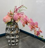 Silver ceramic vase 14 x 8 with Flowers