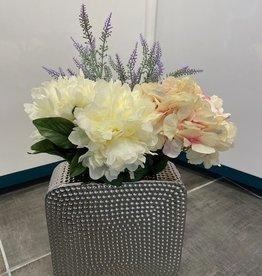 Helio Square Vase w/ Hydrangeas