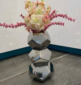 Orion Stacked Silver Ceramic Vase w Cherry Blossoms