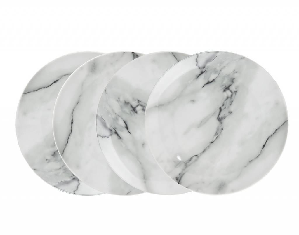 Godinger Silver Art Co Carrera Marble Dessert Plates S/4