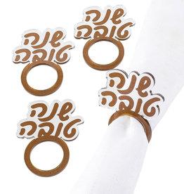 Lucite Gold Shana Tova Napkin Rings S/4