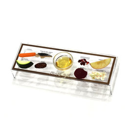 Waterdale Collection Lucite Gold Raised Simanim Tray S/4