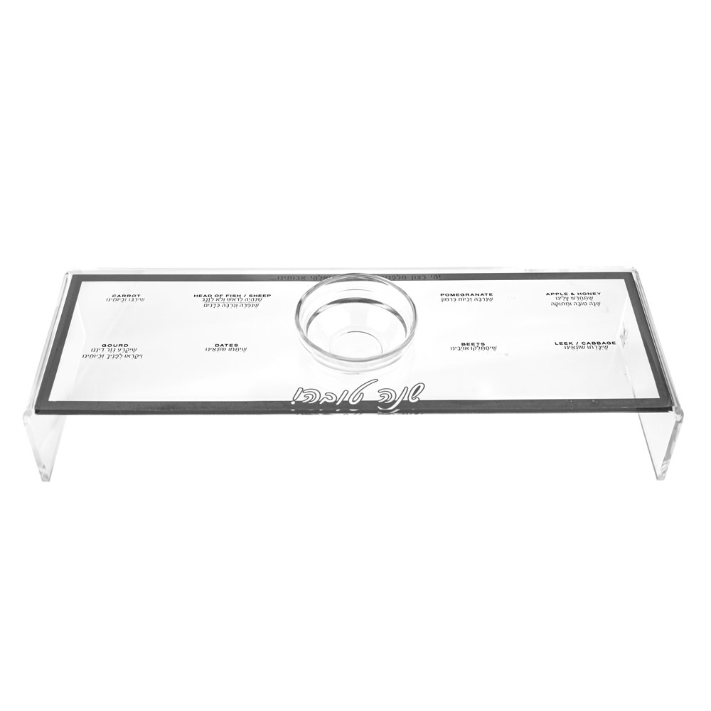 Waterdale Collection Lucite Silver Raised Simanim Tray S/4