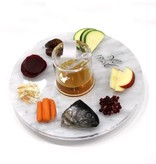 U Collection Lucite Marble Simanim Plate w Honey Jar