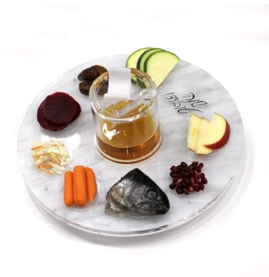 Waterdale Collection U Collection Lucite Marble Simanim Plate w Honey Jar