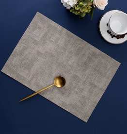 Linen Look Light Gray Leather Placemat