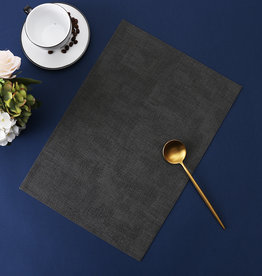 Linen Look Charcoal Leather Placemat