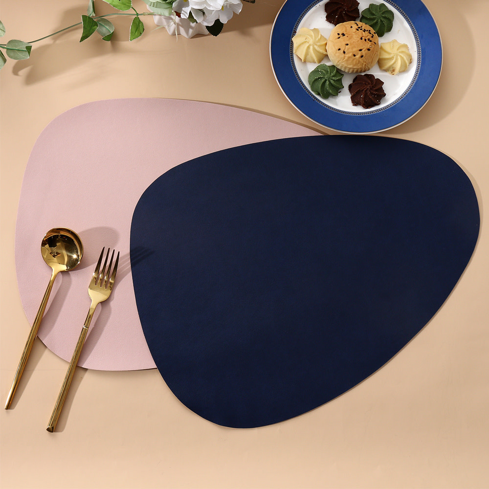 Pink & Gray Double Sided Leather Placemat