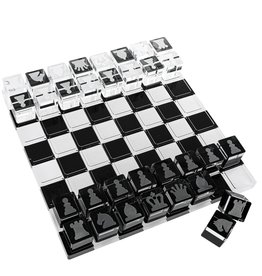 Lucite Black & White Chess Set