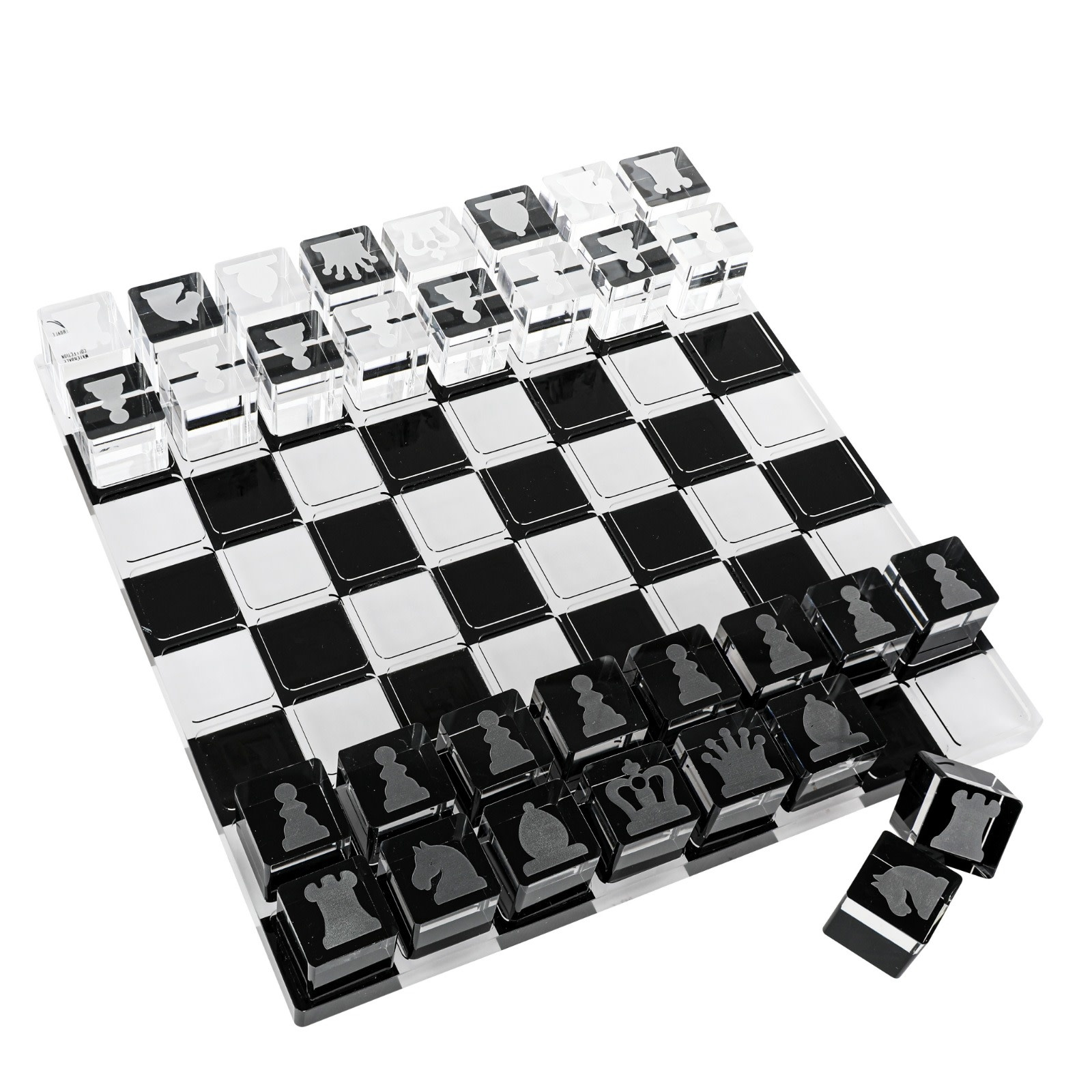 Waterdale Collection Lucite Black & White Chess Set