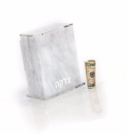 Lucite tzedakah Box - Full Marble
