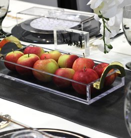 LUX Lucite Bread Tray with Gold Handles