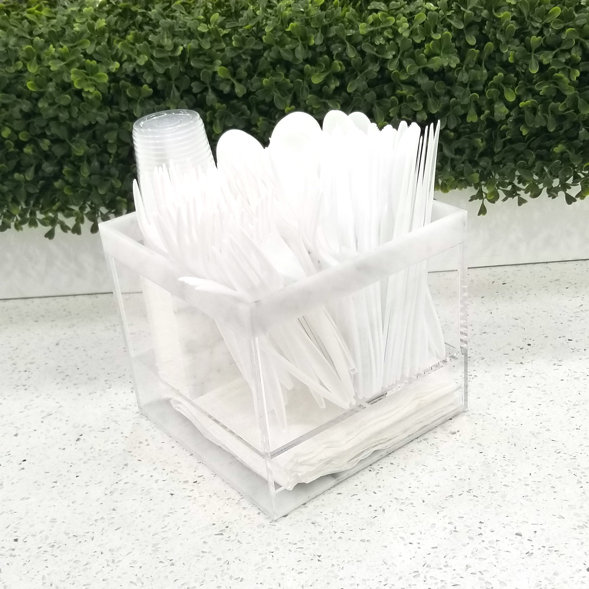 Square Marble Silverware Caddy