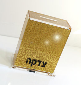 Lucite tzedakah Box - Full Gold