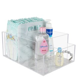 Marble/Clear Lucite Diaper Caddy