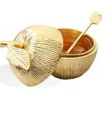 Gold Apple Honey Dish w Spoon