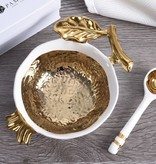 White/Gold Pomegrante Bowl and Spoon