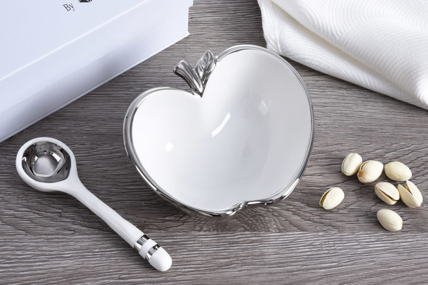 White/ Silver Apple Bowl and Spoon