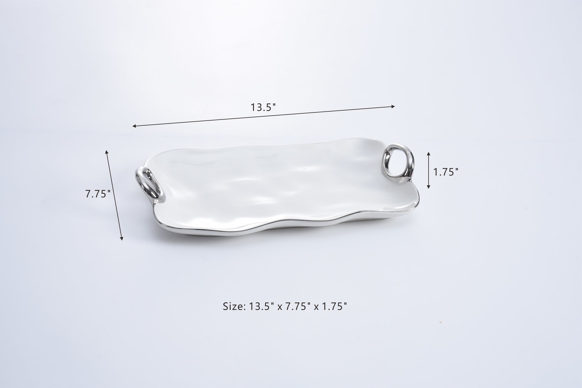 Handle White & Silver Tray