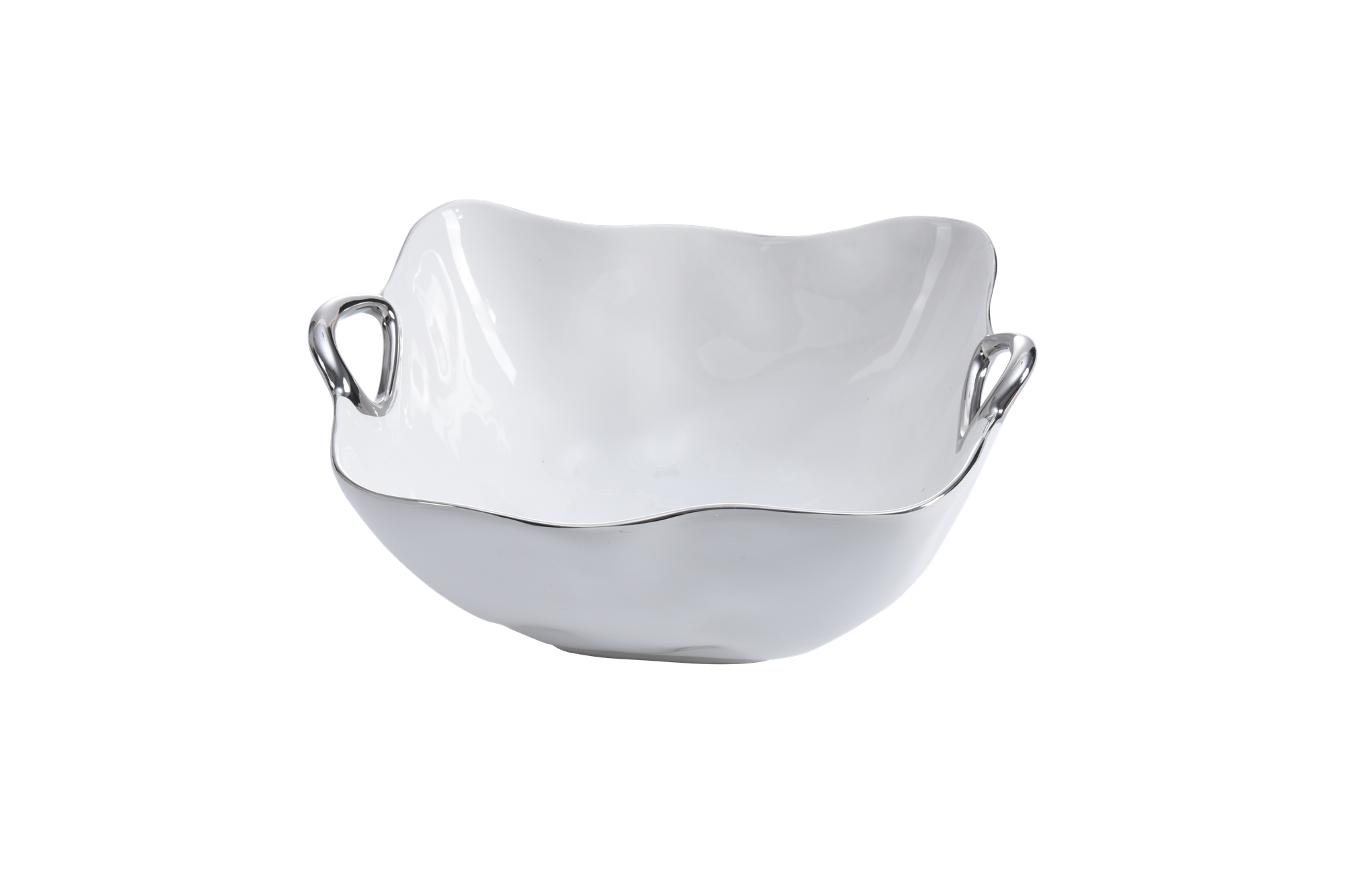 Handle White & Silver Large Bowl
