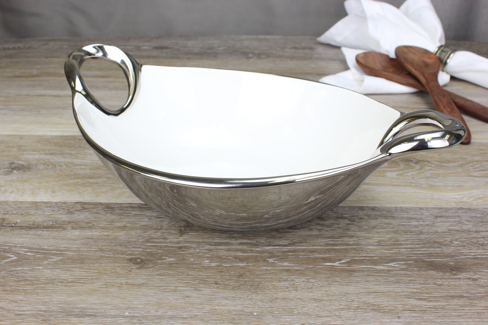 Handle White & Silver Oval Bowl