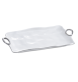 Handle White & Silver Large Platter