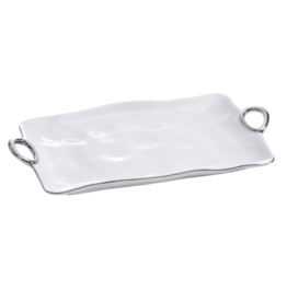 Handle White & Silver Platter