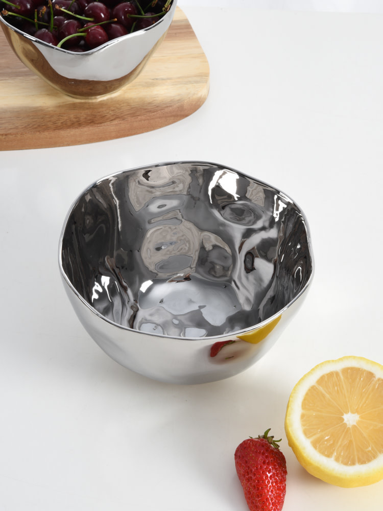 Simple Ceramic Silver Medium Bowl