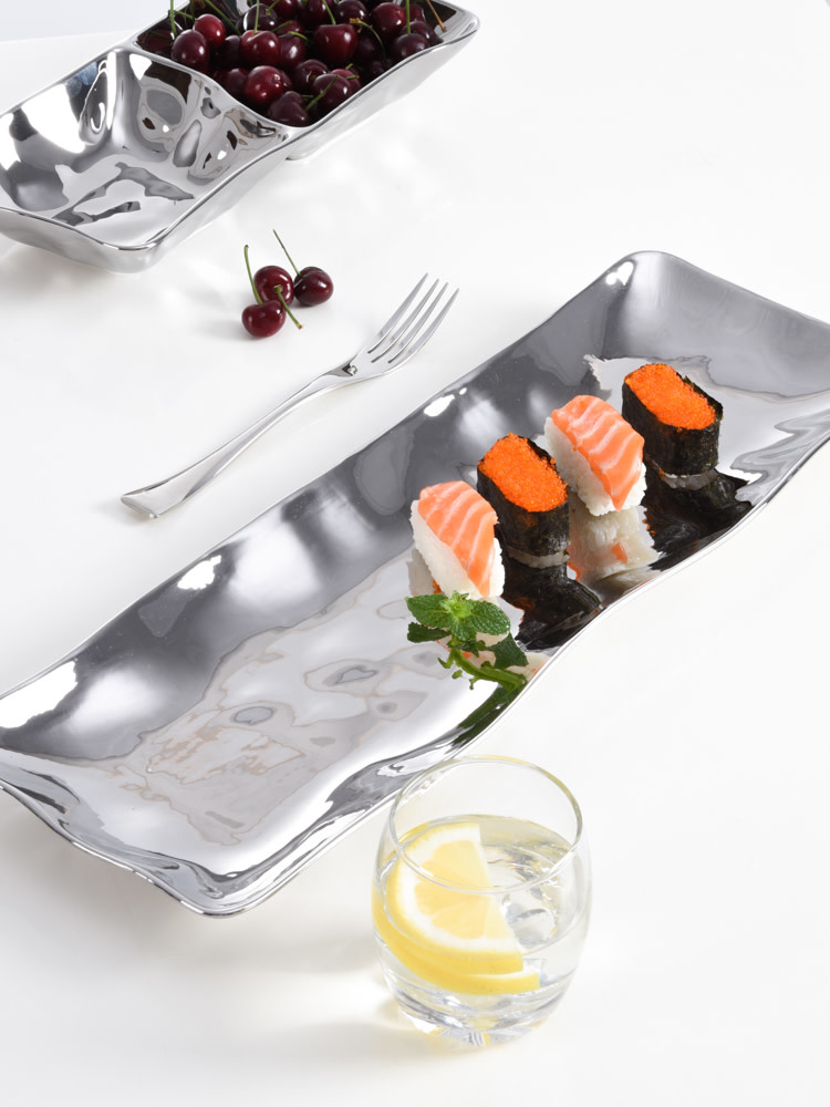 Simple Ceramic Silver Long Tray