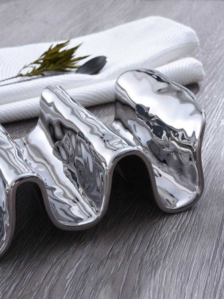 Simple Silver Ceramic Taco Holder