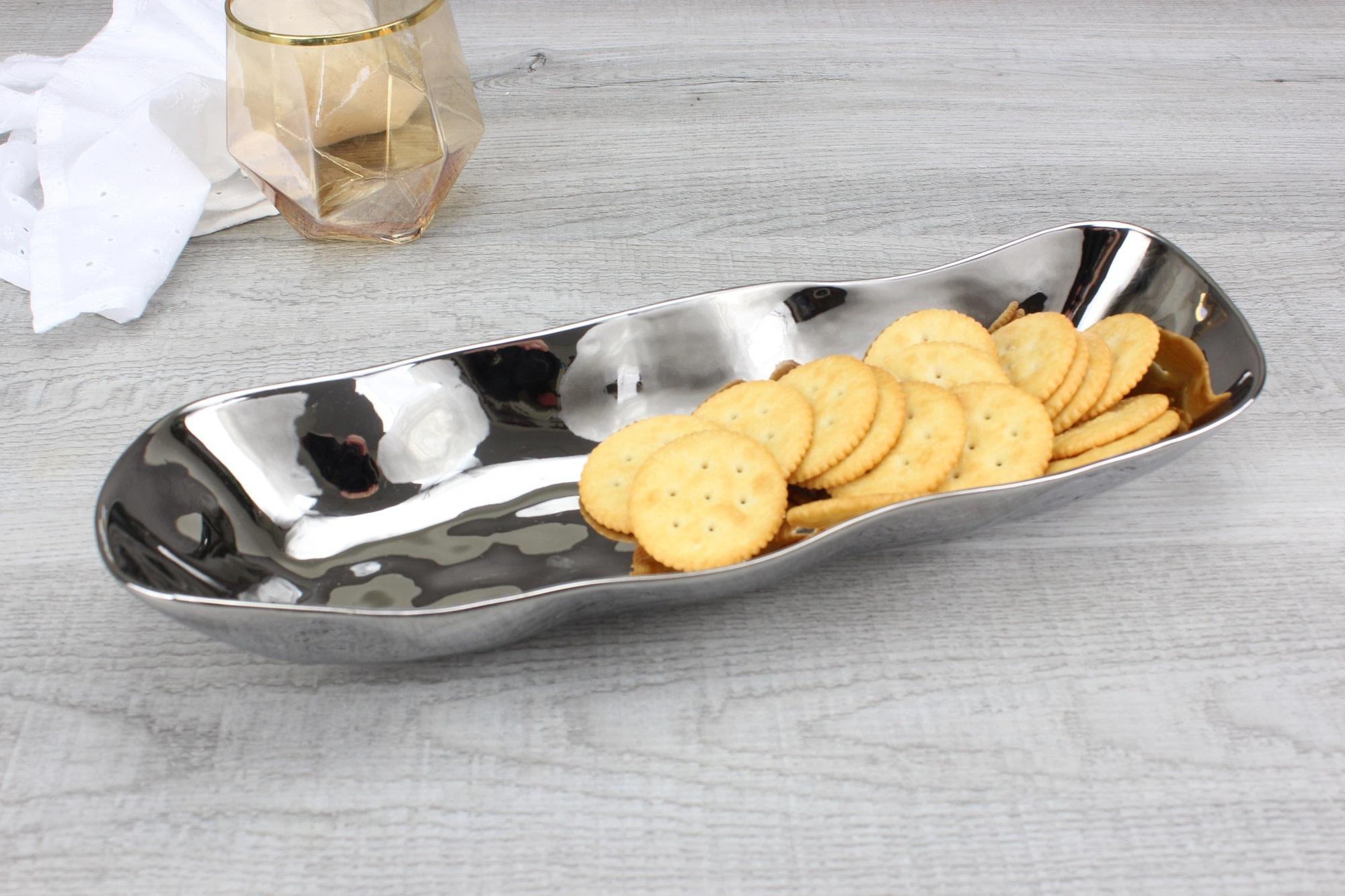 Simple Ceramic Silver Bread Tray