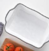 Beaded Ceramic Rectangular White & Silver Baking Dish