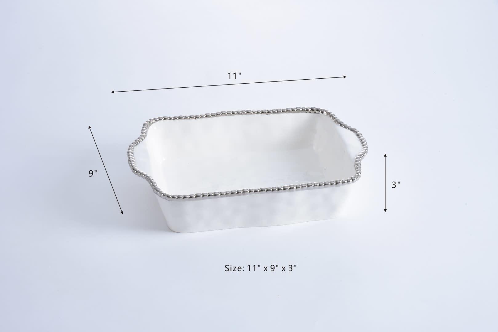 Beaded Ceramic White & Silver Baking Dish