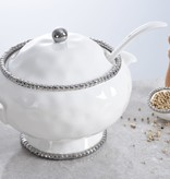 Beaded Ceramic White & Silver Soup Tureen