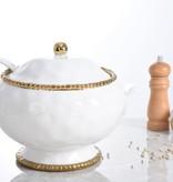 Beaded Ceramic White & Gold Soup Tureen