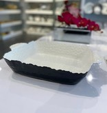 "15.75"" Rectangle White/black Oven to Table Dish"
