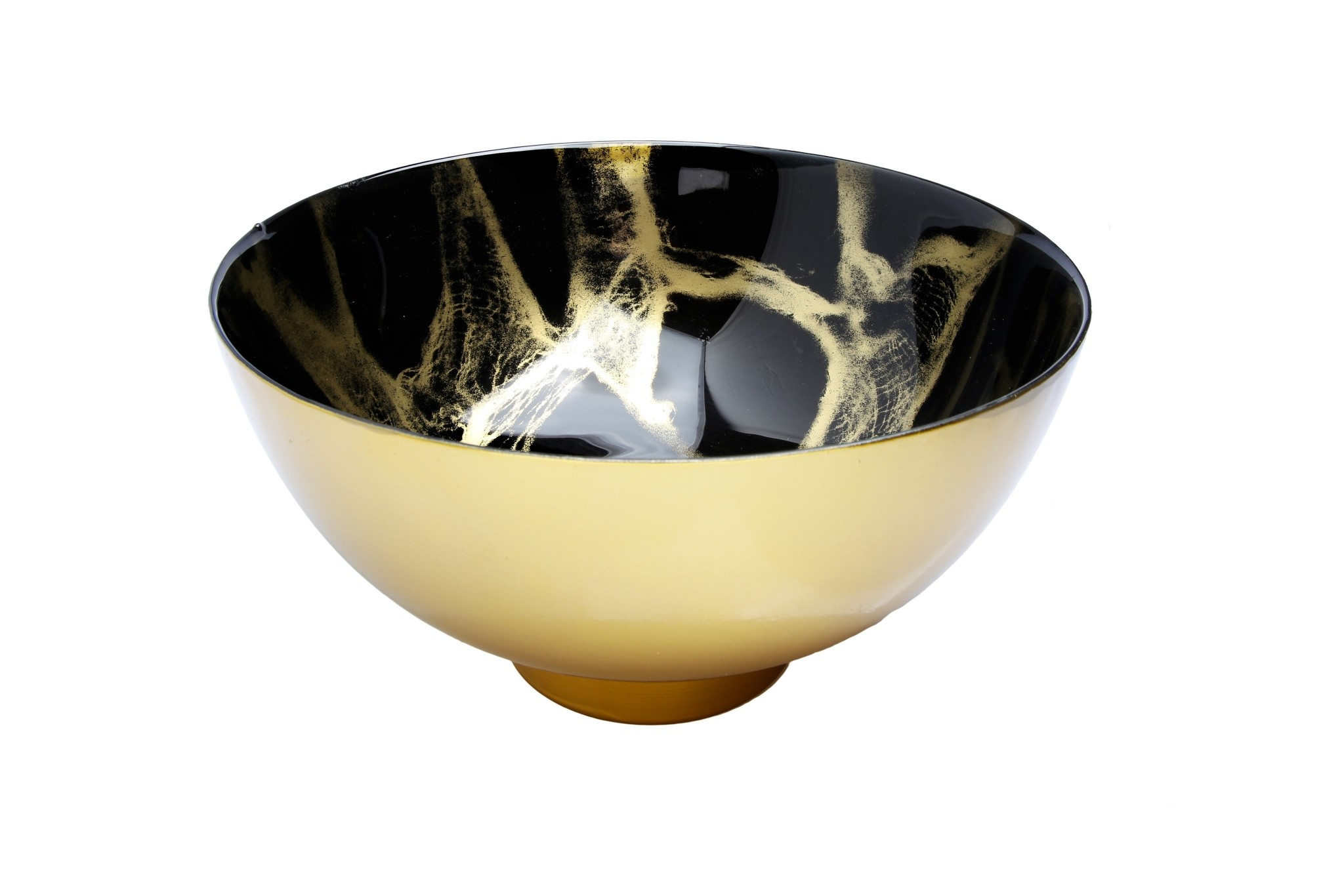10.5 Black and Gold Marbleized bowl