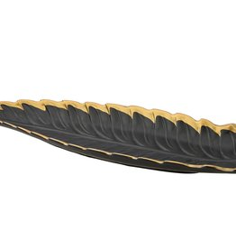 Black Leaf Platter With Gold Rim