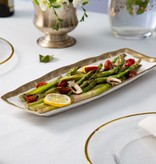 White Oblong Tray With Gold Rim