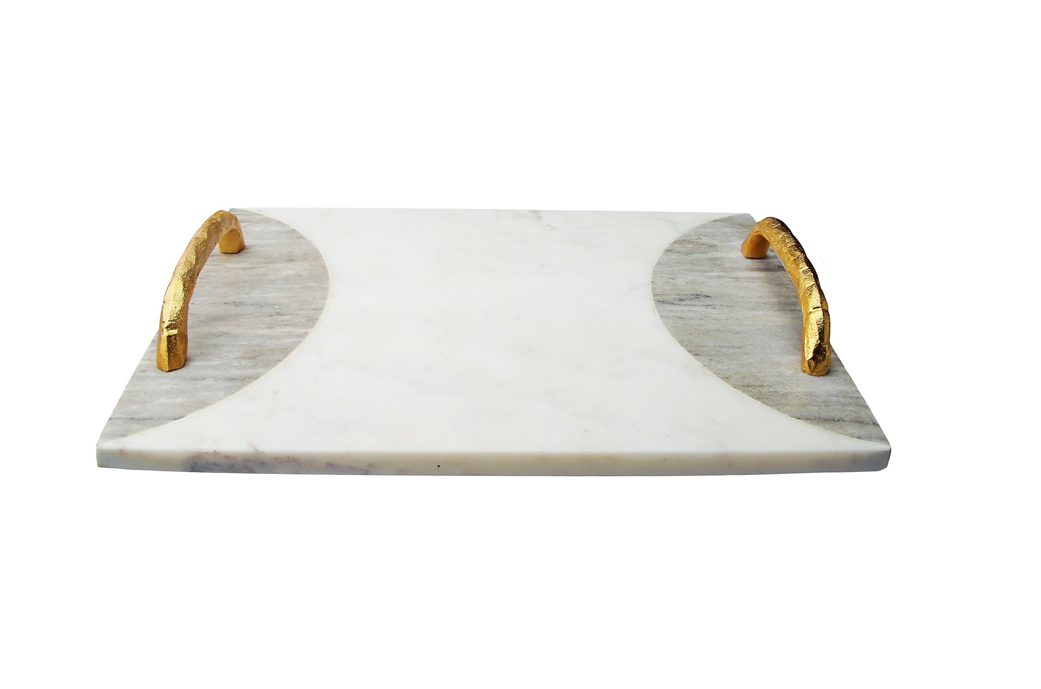 Marble White/ Grey  Challah Board w Gold Handles