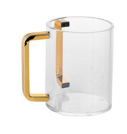 Lucite Wash Cup With Gold Handles