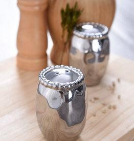 Beaded Ceramic Silver Salt & Pepper Shaker