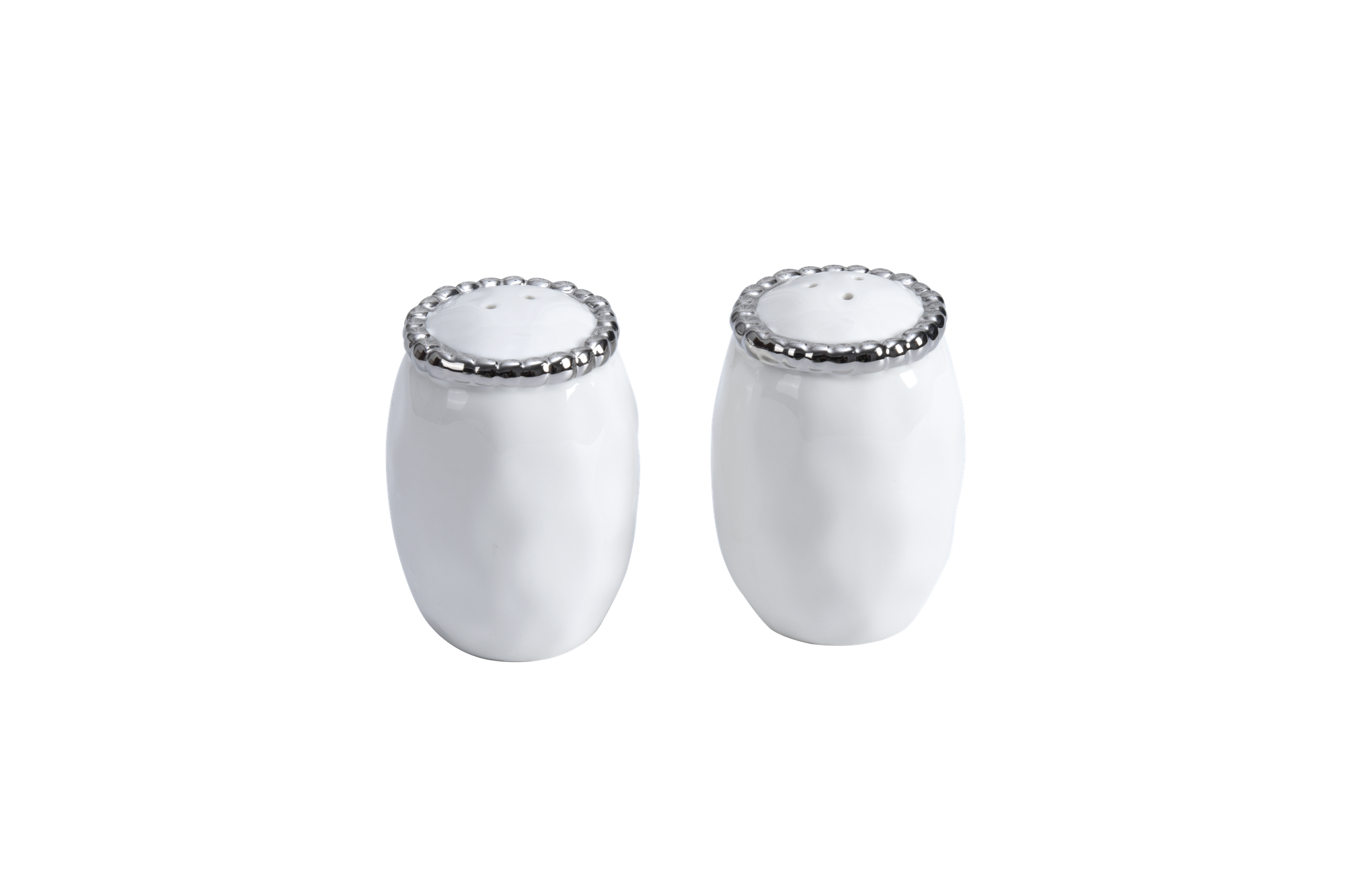 Beaded Ceramic White Salt Pepper Shaker Timeless Table