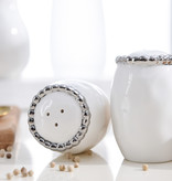 Beaded Ceramic White Salt & Pepper Shaker