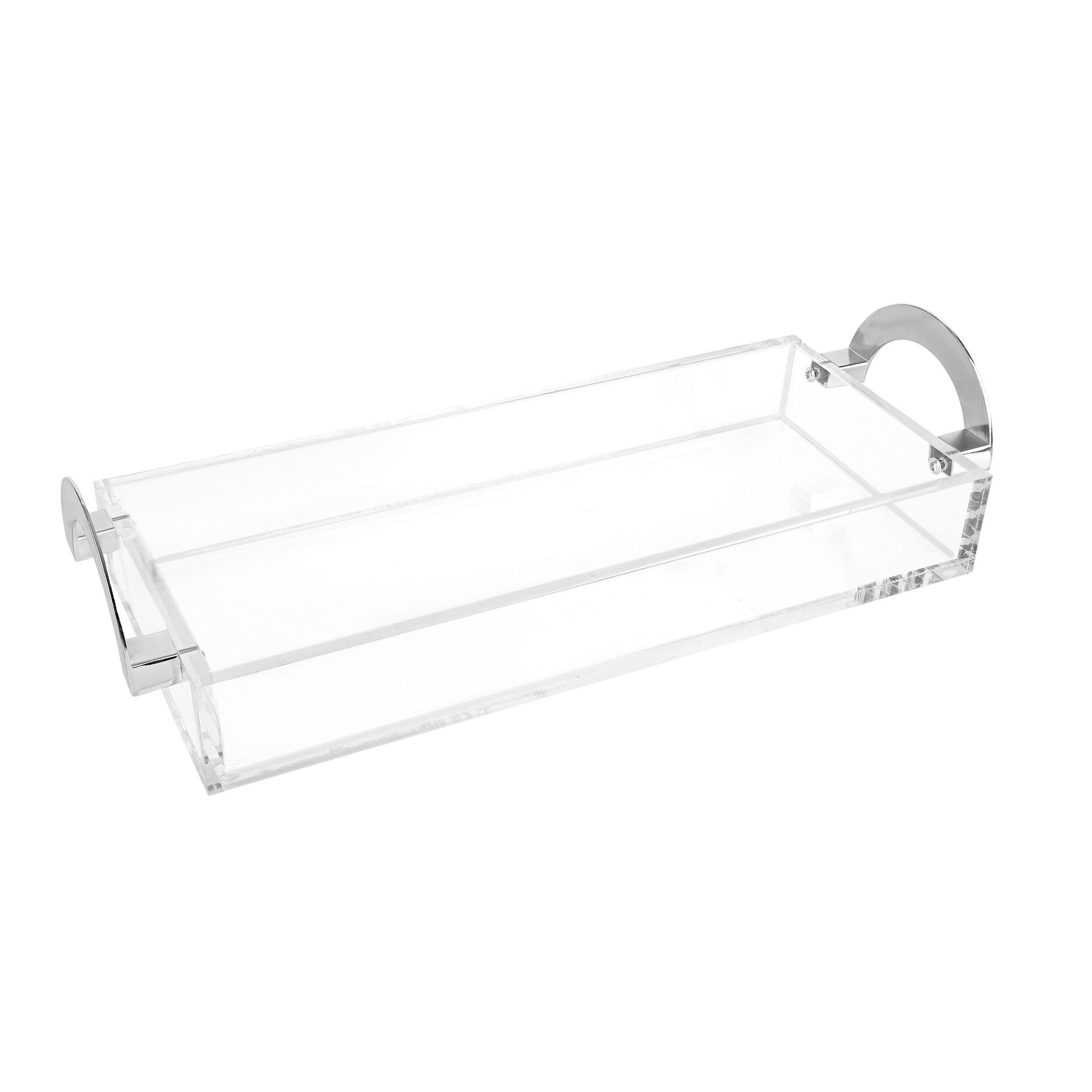 Waterdale Collection LUX Lucite Bread Tray with Silver Handles